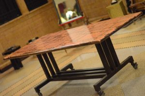 Copper Dining Table on wheels