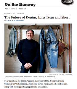 Brooklyn Denim Company in the NY Times